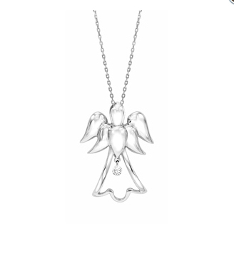 Diamond angel pendant in sterling silver floating diamond angel pendant in sterling silver aloadofball Image collections